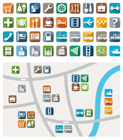 City map, color icons, service, urban services. Colored flat icons with symbols of city services and attractions. Their location on a map. For printing and websites.