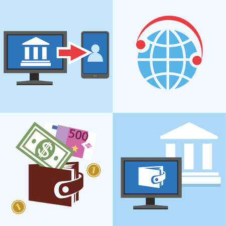 transfers: Bank, Finance, account management and a private office, colored, flat illustrations, icons. Color flat illustrations, icons - manage your personal Bank account, e-wallet, Bank transfers, email and phone.