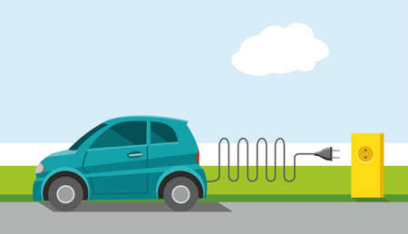 Car, environmental, electrical, charge, powered by energy, ECOCAR, color, flat. The ECOCAR on the road, stopped and charged from the electrical outlet. Ecology, environmental protection, new progressive technologies. Colored, flat illustration.