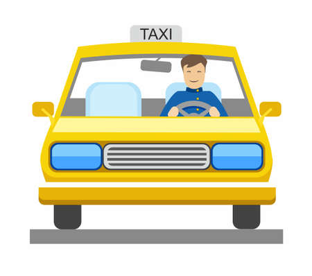 Taxi, taxi driver, color illustration. In a yellow car sits a taxi driver. Vector picture. Illustration