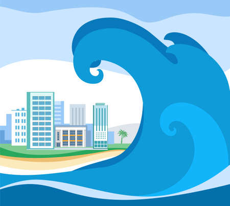 Tsunami, colored picture, vector. A huge wave rolls on coast. On the shore stands the city. A natural disaster.