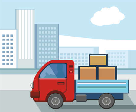 Un piccolo camion che trasportava merci in città. Nella città moderna, un piccolo camion carico di merci. Illustrazione vettoriale
