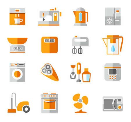air cleaner: Electrodomésticos, iconos, colores, y naranja. Iconos de electrodomésticos y electrónica de color.