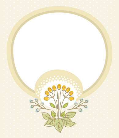 Beige postcard, beige frame, flower with berries. Beige card with green flowers, yellow berries and white circle for the text. The contour, color painting.