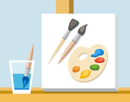paint palette: Brush, paint, palette and canvas artist. The painters canvas is on the easel, next to a glass of water and art brush. On canvas are the brushes and palette with paints. Vector illustration.