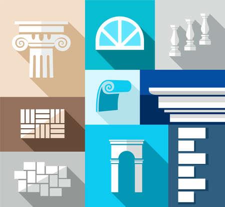 Building, afwerkingsmaterialen, reparatie, flat illustratie, pictogrammen. Vector illustratie van de architectonische elementen van gebouwen en soorten afwerkingsmaterialen.