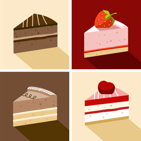 marmalade: Cake, dessert, chocolate, strawberry, cherry, piece, color, flat. Four pieces of cake, chocolate, cream, strawberry and cherry, topped with jam and marmalade, shortbread, biscuit. Color illustrations.