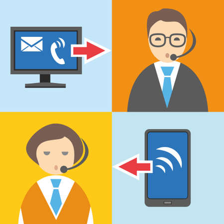 informational: Call centre, flat color illustration, information graphics. Telephone, contact center, color flat illustrations, icons. Managers respond to phone calls, talking on the phone.