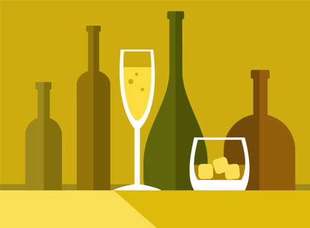alcoholic drinks: Drinks by the glass, bottle, colour illustrations. Yellow, flat illustration with bottles and alcoholic drinks by the glass. Illustration