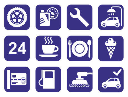 uncluttered: Icons car service, car wash, polishing, tire, cafes, monochrome, flat. One-colored flat icons with a simple, uncluttered images auto services, roadside gas stations and cafes. For printing and websites. Illustration