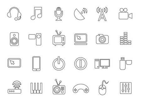 Medios Iconos Esquema Blanco Comunicación Ordenador