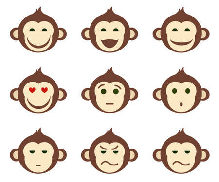 skepticism: Icons, monkeys, emotions, different, small, color, flat. Icons with different emotions monkeys, funny and sad. Colored flat icons. For print and websites.