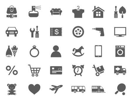 categories: Icons, online store, product categories, monochrome, white background. Icons of categories of goods for the online store. Monochrome on a white background. For websites, print and infographics.