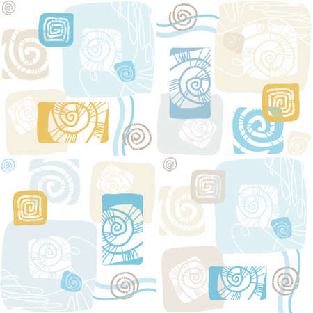 yellow  ochre: Seamless pattern with sea shells, mollusks, color, flat. Seamless, flat color pattern of sea shells and shellfish. For printing, websites, textile prints and decorating the premises.