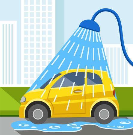Wash car, yellow car, color illustration. In the car wash yellow wash the car. The showerhead pouring blue water. Colored illustration.