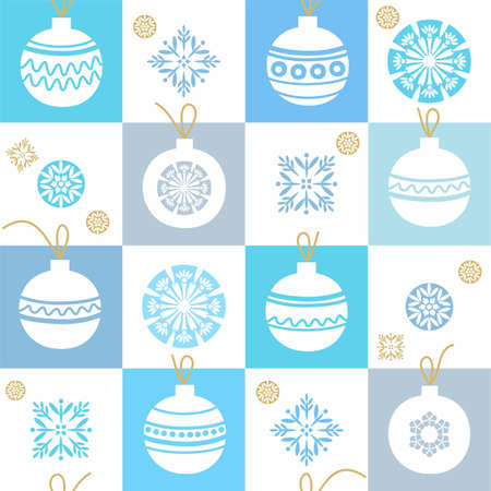 christmas ornamentation: White background, Christmas decorations, snowflakes, blue, seamless pattern. Seamless pattern with Christmas balls and snowflakes in blue and grey squares. White background. Print.