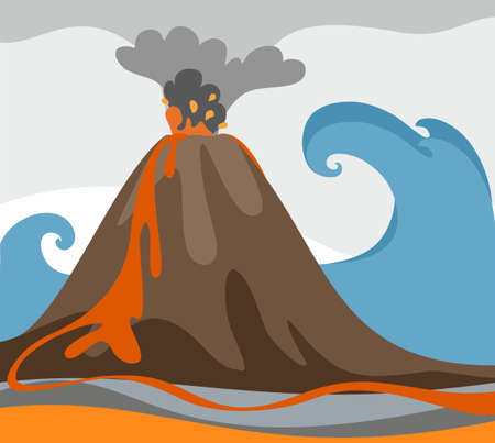 magma: An erupting volcano, tsunami, colored picture, vector. Against the background of rising ocean with a big wave erupting volcano. Colored, flat picture. From a volcano is ash and fiery magma.