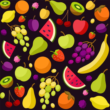 ripened: Background, fruit, berries, black, colored. Black, vector background with colored, flat fruit and berries, seamless. For the decoration.