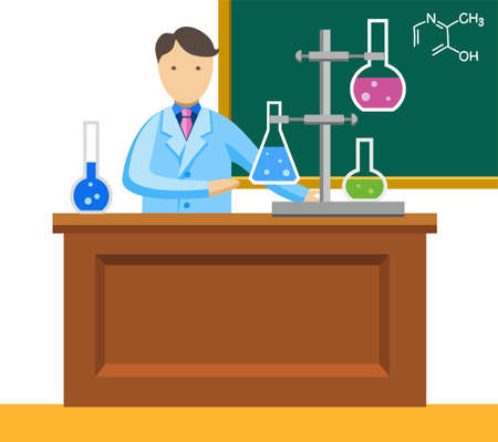 conducting: Chemist, chemical experience, coloured picture. Chemistry lesson, the teacher makes chemical experiments. Vector picture. Colored, flat, on a white background. Chemist in the science lab conducting research. Illustration