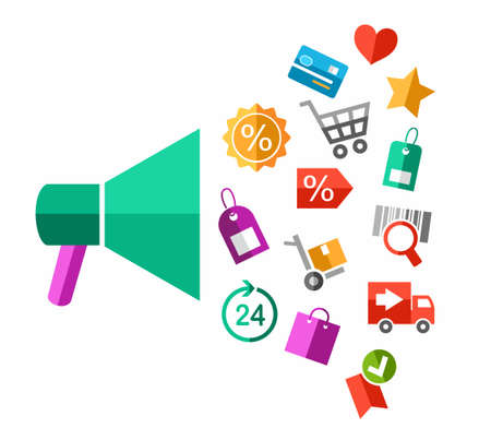 Discounts, closeout, color illustration, flat. Vector picture about sales, colored, flat icons pouring from the loudspeaker.