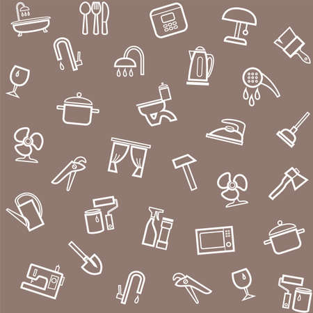 iron curtain: Household goods, home, background, seamless, gray-brown. Vector seamless brown background with linear icons of household goods.