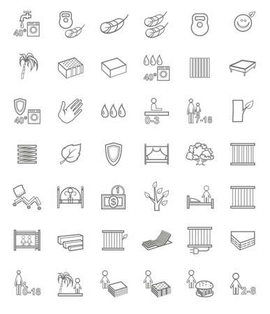 Mattresses, beds, linear icons. The types of mattresses. The wooden and metal beds and bases for beds. Vector icons. Single color linear image on a white background.