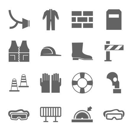 personal safety: Occupational safety, personal safety, icons monochrome flat.Vector icons with protective clothing and items of human security. Monochrome picture on a white background. Illustration