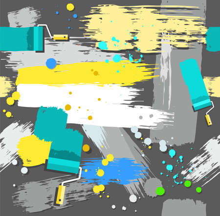 blue roller: Paint rollers with paint, seamless background, grey. Yellow, gray, blue and green spots and stripes on a dark gray background. Traces of paint roller and brushes, blots and drops. Vector seamless background. Color, flat. The imitation of the texture of th