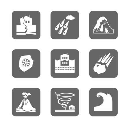 natural disasters: Natural disasters, monochrome icons are gray. Vector, monochrome icons of natural disasters and cataclysms. White image on a gray background. Illustration
