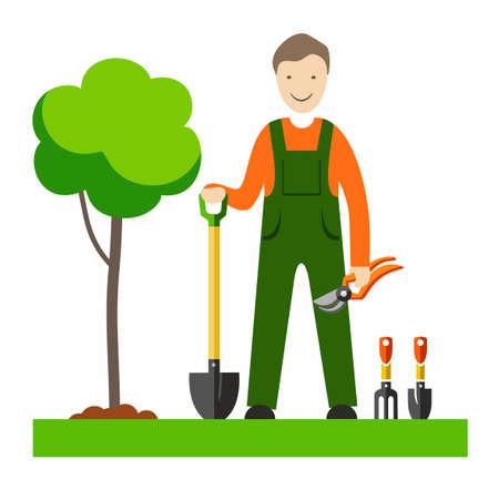 El jardinero, con ilustraciones a todo color. Un jardinero con una pala y herramientas de jardinería en el césped, al lado de un árbol joven. Cuadro del vector. Ilustración plana de color sobre fondo blanco. Foto de archivo - 66522193
