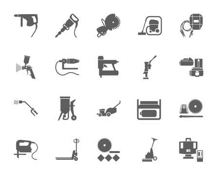 Construction tools and consumables, monochrome icons. Gray, vectors, equipment for construction and renovation on a white background. Illustration