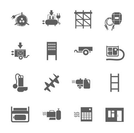 switchboard: Electric equipment and construction equipment, single-color icons. Gray, vectors, electrical, gas and construction equipment on a white background.