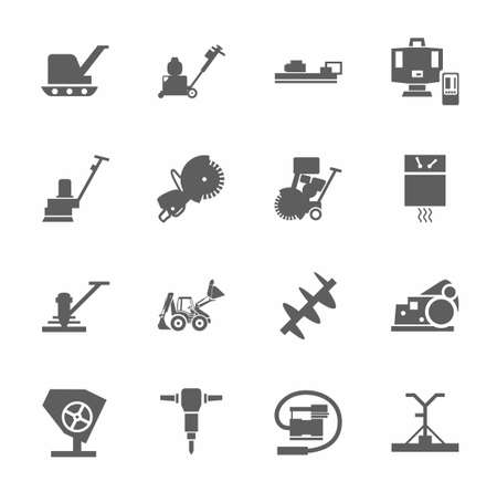 Equipment for working with concrete, construction machinery, single-color icons. Gray, vector image of construction equipment and tools on white background.