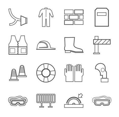 lugs: Labor protection, contour icons, monochrome. Vector flat icons with protective clothing and items of human security. Dark grey linear image on a white background. Illustration