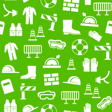 footwear: Occupational safety, personal security, background, seamless, green. White flat icons of protective clothing and protective items against a green background. Vector background.