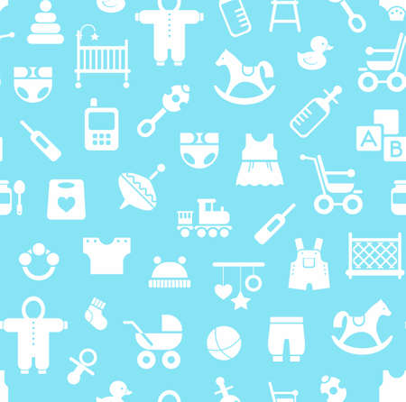 playpen: Products for children, background, seamless, blue. Vector colored background with clothes, toys and personal items for newborns and young children. White icons on a light blue background.