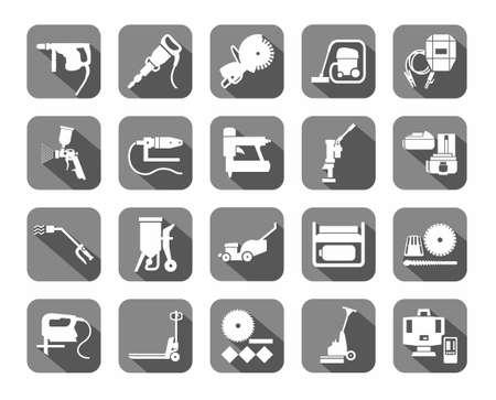 Les outils de construction, des consommables, des icônes, gris, plat. Blanc, image vectorielle équipements pour la construction et la réparation sur fond gris avec des ombres. Vecteurs