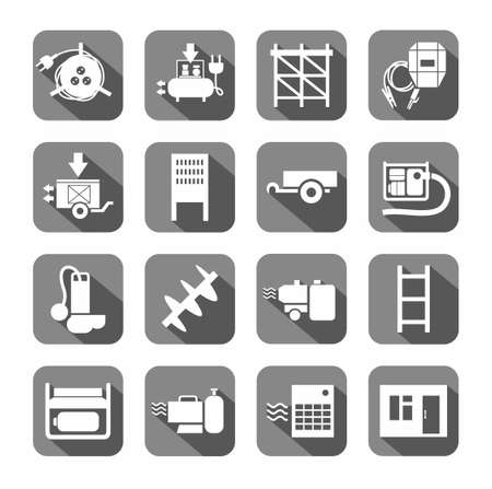 switchboard: Electrical equipment and building inventory, the icons are flat, gray. White, vectors, electrical, gas and construction equipment on a gray background with shadow.