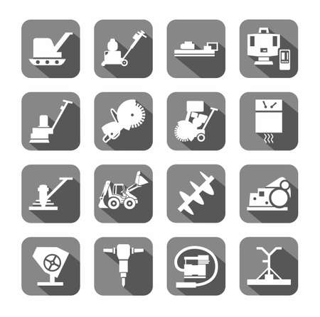sander: Equipment for working with concrete, construction equipment, icons, gray, flat. White, vector image of construction equipment and tools on a gray background with shadow. Illustration