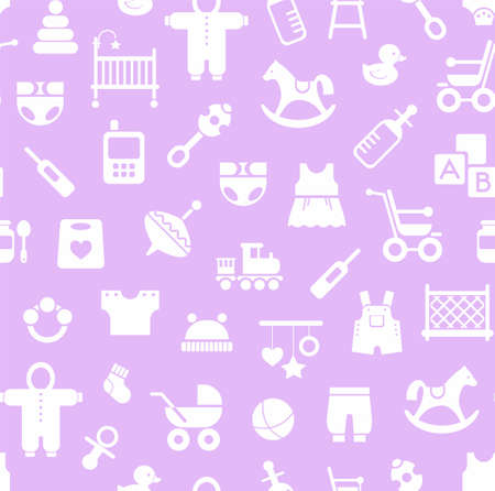 Products for children, background, seamless, Magenta.Vector colored background with clothes, toys and personal items for newborns and young children. White icons on a light lilac background.