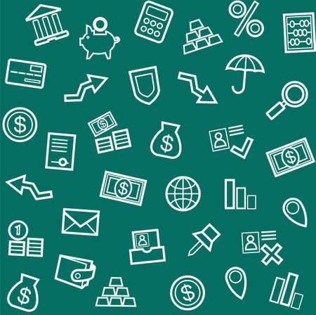 green economy: Background, Finance, money, Economics, seamless, green.Seamless vector background on the topic of Finance, economy and banking. White line icons on dark green background.