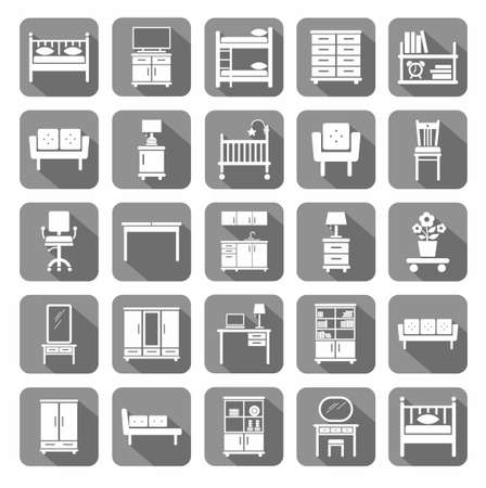 kitchen cabinet: Furniture, icons, monochromatic, gray. Vector icons of modern furniture for home and office. White image on a gray background with shadow. A flat image.