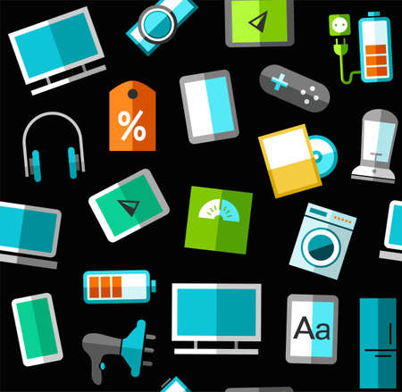 consumer electronics: Gadgets and consumer electronics, black background, seamless. Vector background with images of gadgets, computers, and household appliances. Colored, flat images on a black background. Illustration