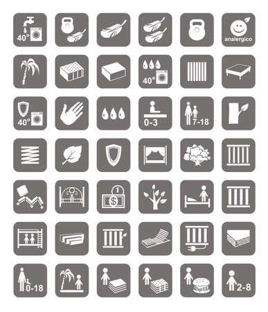 Colchones, camas, fundas de colchón, insignias. Monocromo, iconos vectoriales con imágenes de los tipos de camas y colchones. imagen en blanco sobre un fondo gris.