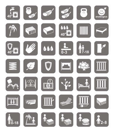 hard drive: Mattresses, beds, mattress covers, badges. Monochrome, vector icons with images of types of beds and mattresses. White image on a gray background. Illustration