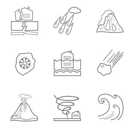 natural disasters: Natural disasters, contour icons, monochrome. Vector linear icons of natural disasters and cataclysms. Gray image on a white background. Illustration