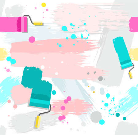 rollers: Paint rollers with paint, seamless background. Pink and green spots and stripes on a white background. Traces of paint roller and brushes, blots and drops. Vector seamless background. Color, flat. Imitation texture paint. Illustration