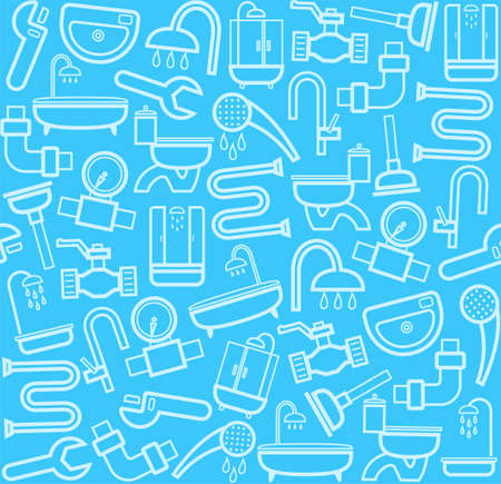 Plumber, background, seamless, sanitary tool, blue. White line icons of plumbing and plumbing tools on a blue background. Vector flat background.
