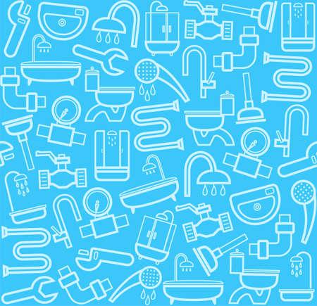 Klempner, Hintergrund, nahtlose, Sanitär-Tool, blau. Weiße Linie Ikonen der Sanitär-und Sanitär-Werkzeuge auf einem blauen Hintergrund. Vektor flach Hintergrund.