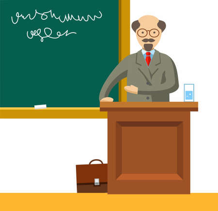 lectures: Professor lectures, coloured illustrations. An elderly Professor with glasses is giving a lecture near the school boards. Color flat illustration on white background. Vector picture. Illustration